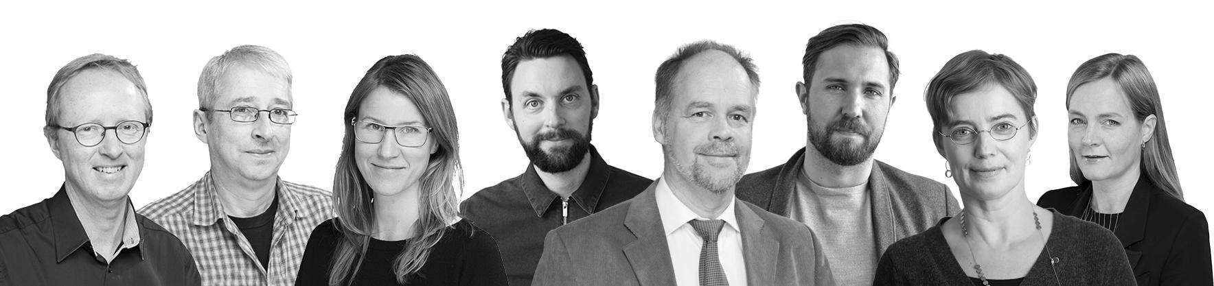 Gruppchefer: Johan Rittsél, Anders Scherman, Lisa Wikström, Fredrik Ekerhult, Klas Eriksson, Robert Petrén, Annika Askerblom och Katja Hillström. Foto: AIX Arkitekter.