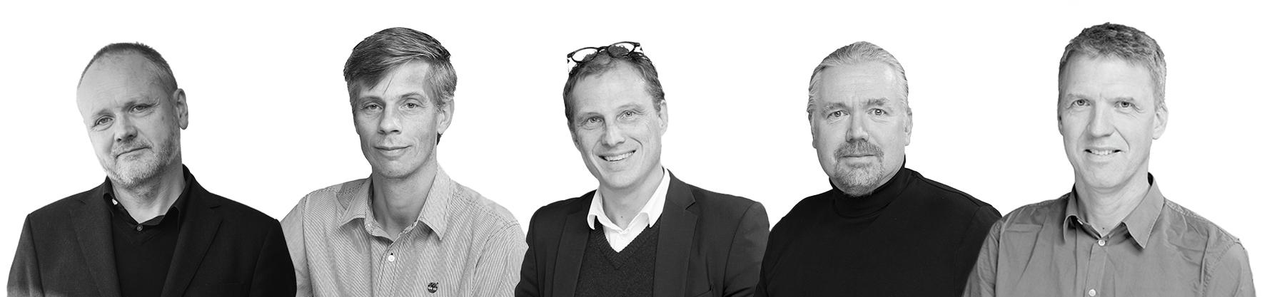 Kreativa ledare: Tobias Rosberg, Erland Montgomery, Jesper Engström, Sven Ahlénius och Mikael Uppling. Foto: AIX Arkitekter.